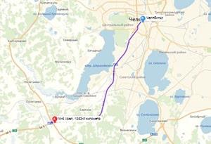 маршрут эвакуатора в челябинске: М-5 - г. Челябинск (35 км), буксир 24