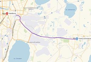 маршрут эвакуатора в челябинске: г. Челябинск - г. Копейск (18 км), буксир 24