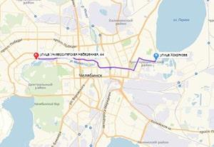 маршрут эвакуатора в челябинске: Университетская наб. 44 - ул. Хохрякова (12 км), буксир 24