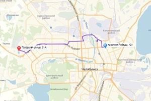 маршрут эвакуатора в челябинске: Ул. Городская 31А - пр-т Победы 121 (13 км), буксир 24