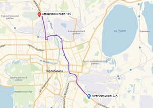 маршрут эвакуатора в челябинске: Свердловский тракт 16Б - Копейское шоссе 33А (14 км), буксир 24