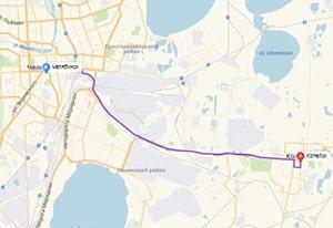 маршрут эвакуатора в челябинске: г. Копейск - г. Челябинск (18 км), буксир 24