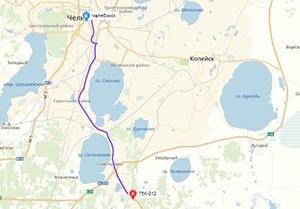 маршрут эвакуатора в челябинске: 75К-012 - г. Челябинск (27 км), буксир 24