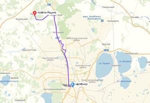 маршрут эвакуатора в челябинске: пос. Рощино - г. Челябинск (25 км), буксир 24
